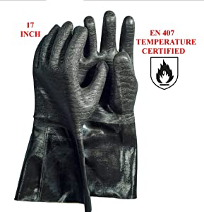 Artisan Griller BBQ Insulated Heat Resistant Cooking Gloves for Grill and Kitchen, 17-Inch Length, Black (Size 10/XL)