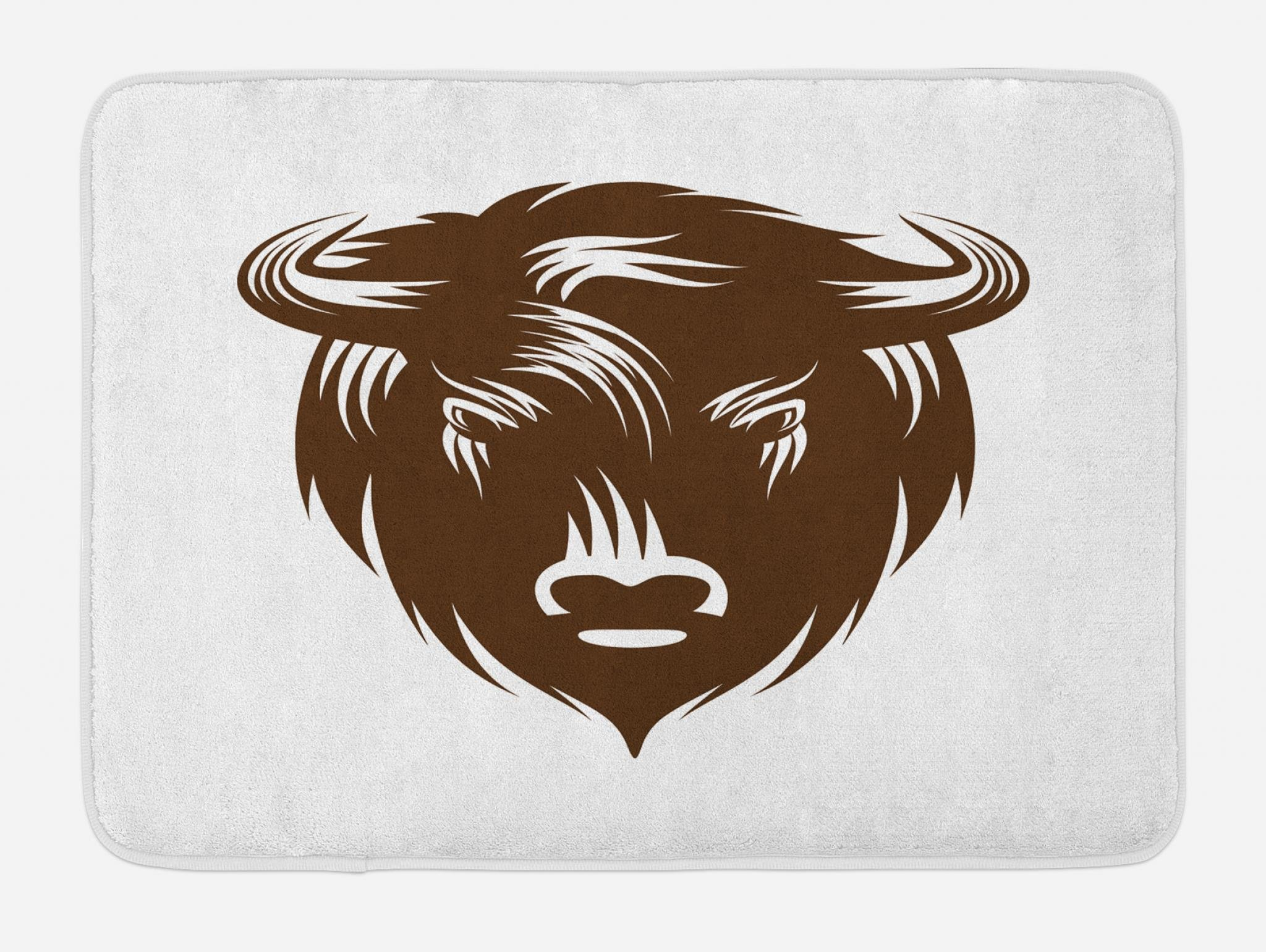 Lunarable Bison Bath Mat, Earth Tones Horned Buffalo Head Wilderness Forest Animal Jungle Illustration, Plush Bathroom Decor Mat with Non Slip Backing, 29.5 W X 17.5 W Inches, Chocolate White