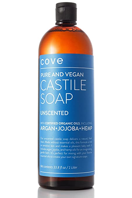 Cove Unscented Castile Soap 33.8 oz - Only Certified Organic, Vegan Ingredients with Argan, Jojoba, and Hemp Oils - Concentrated Liquid Soap - Made in the USA
