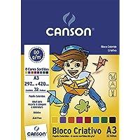 Bloco Colorido Criativo A3 80g/m², Canson, 66667089, 8 Cores, 32 Folhas