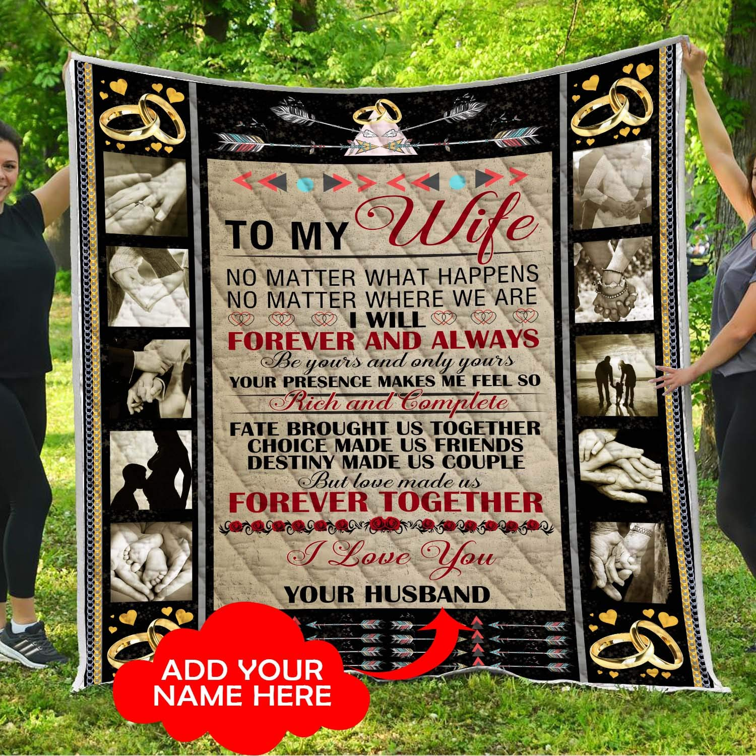 To My Gorgeous Wife I Love You Quilt Pattern Blanket Comforters with Reversible Cotton King Queen Full Twin Size Quilted Romantic Gifts Birthday Wedding Anniversary Presents for Wife from Husband Kids by VTH Global