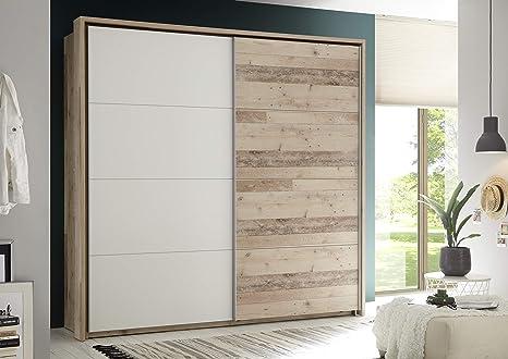58-190-V0 Cardief Roble Old Style claro roble nb. Puerta corredera blanca con puertas correderas y espacio de almacenamiento para habitación juvenil, aprox. 215 x 210 x 60 cm.: Amazon.es: Bebé
