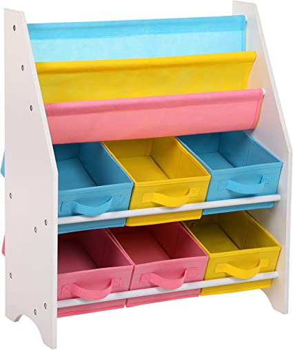 SONGMICS Estantería para Juguetes Organizador de Juguetes Estantería Infantil con Cajas de Colores Cajas de Tela no Tejida para Guardar Libros y ...