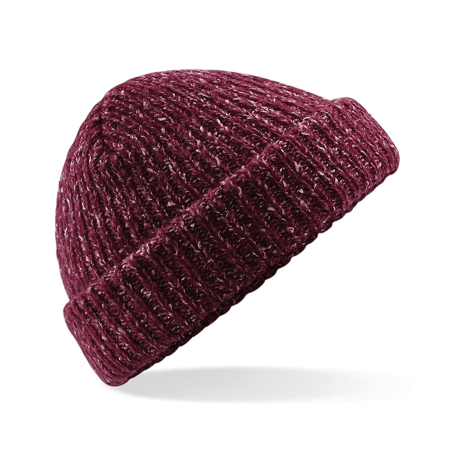 c93a4a75811 Amazon.com  Beechfield Unisex Adults Glencoe Knitted Winter Beanie Hat (One  Size) (Black Fleck)  Clothing
