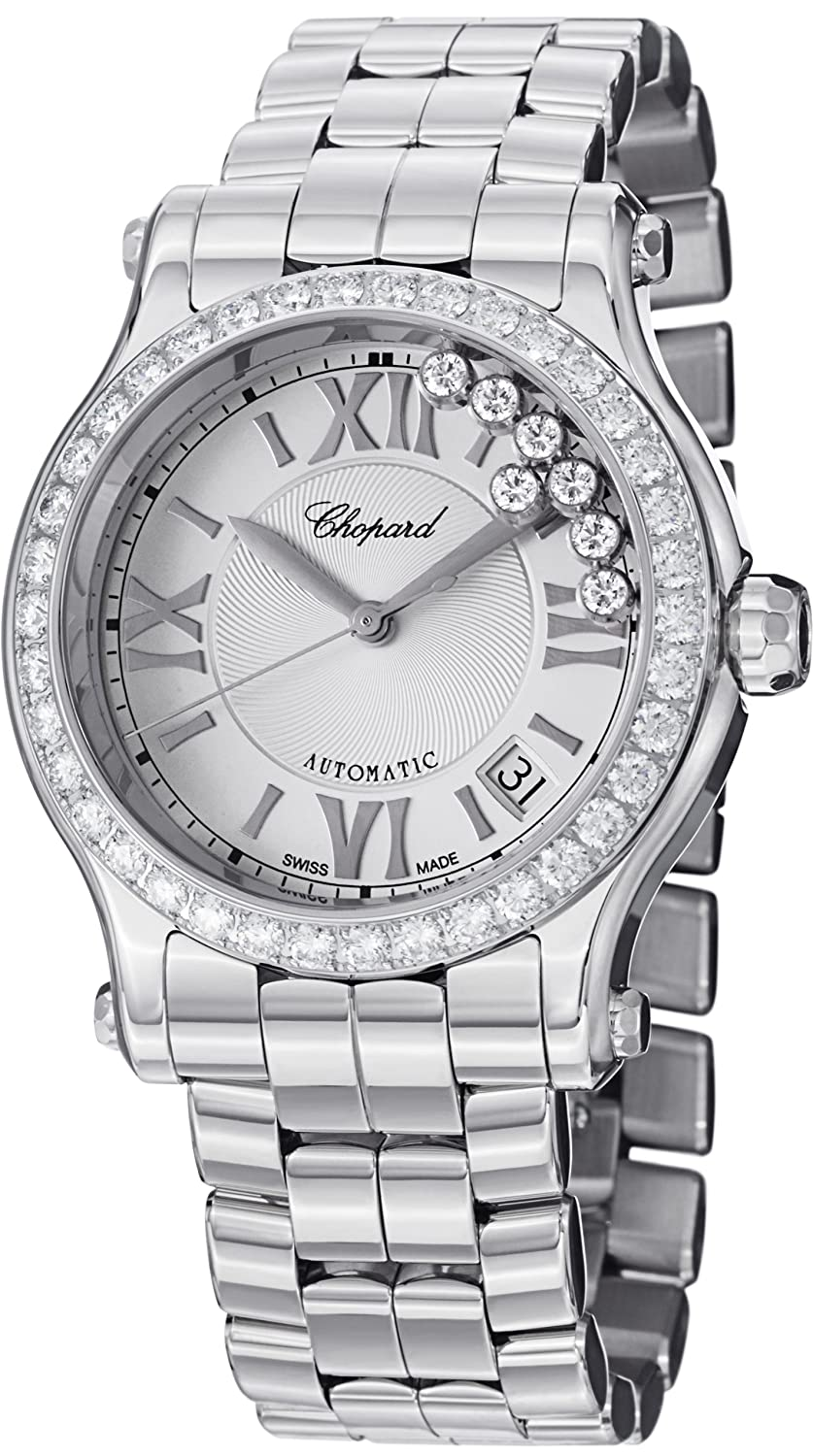 e28e3cab5 Amazon.com: Chopard Happy Sport Round Ladies Stainless Steel Automatic  Diamond Bezel Watch 278559-3004: Chopard: Watches