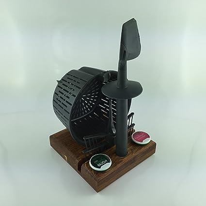 Accesorios Soporte de madera real como soporte Thermomix TM5 fabricado en madera maciza, Roble oscuro