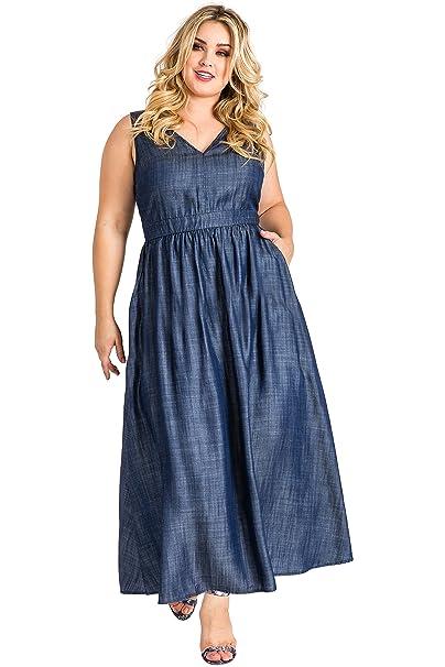 Standards & Practices Plus Size Women\'s V-Neck A-Line Tencel Denim Maxi  Dress