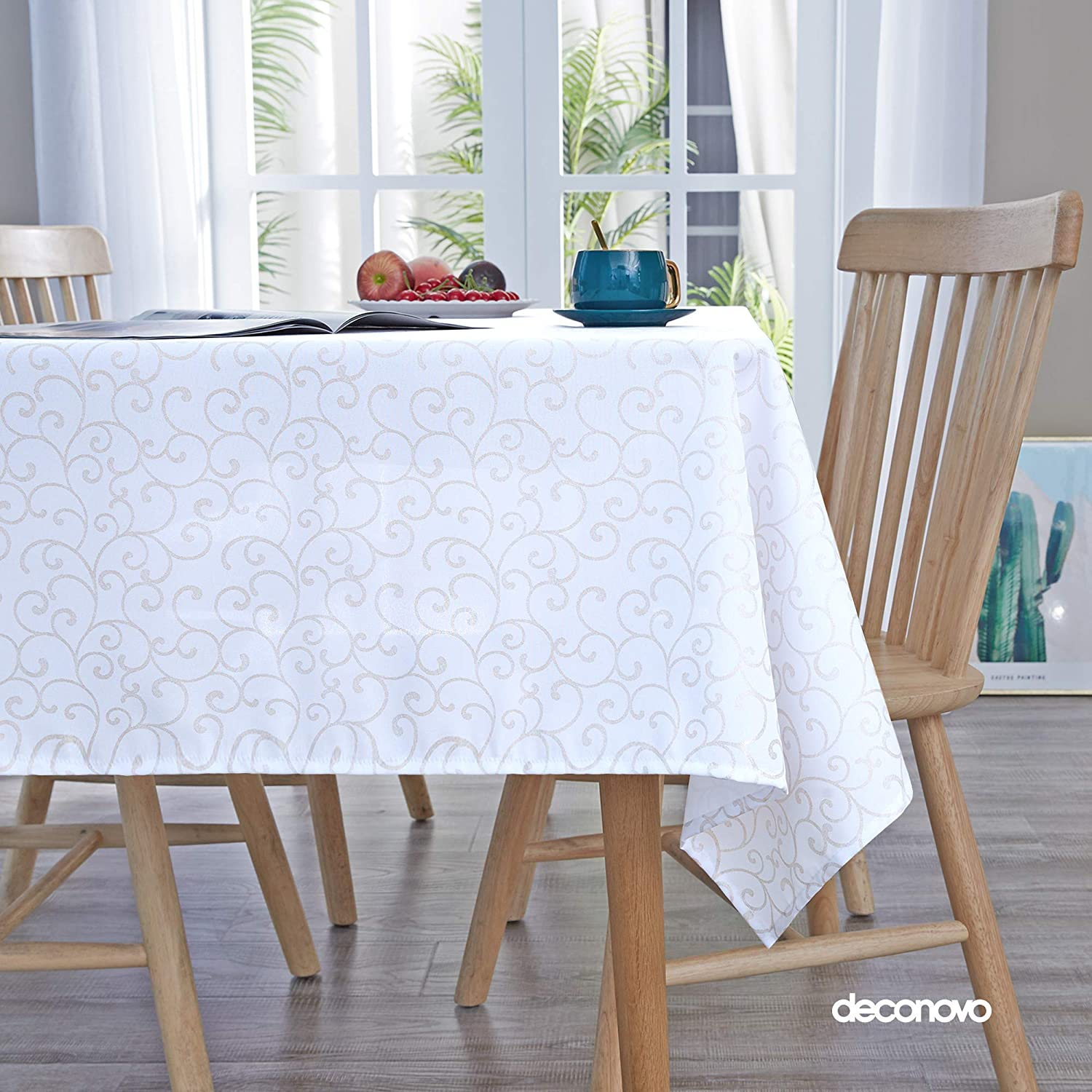 Deconovo Printed Clouds Pattern Tablecloth Decorative Wrinkle Resistant Oxford Table Cloth for Dining Room 54x84 Inch White