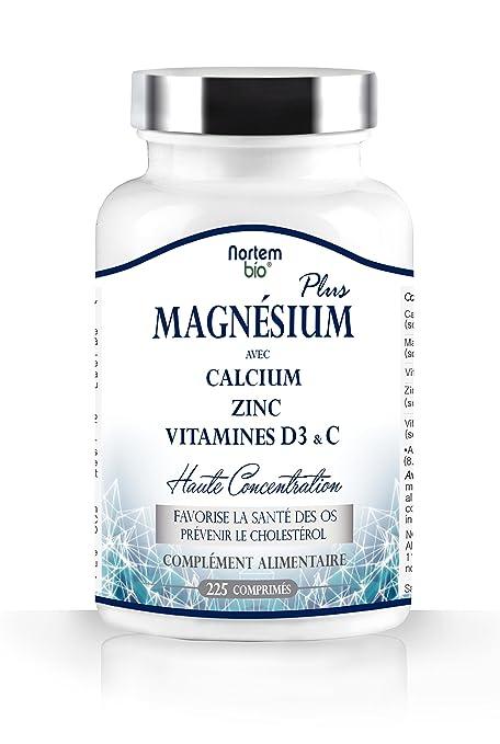 NortemBio - Citrato de magnesio plus, calcio, cinc, enriquecido con vitaminas D3
