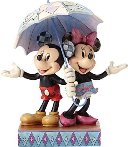 Disney Traditions by Jim Shore Minnie Mouse and Mickey Mouse Umbrella Stone Resin Figurine, 7.75