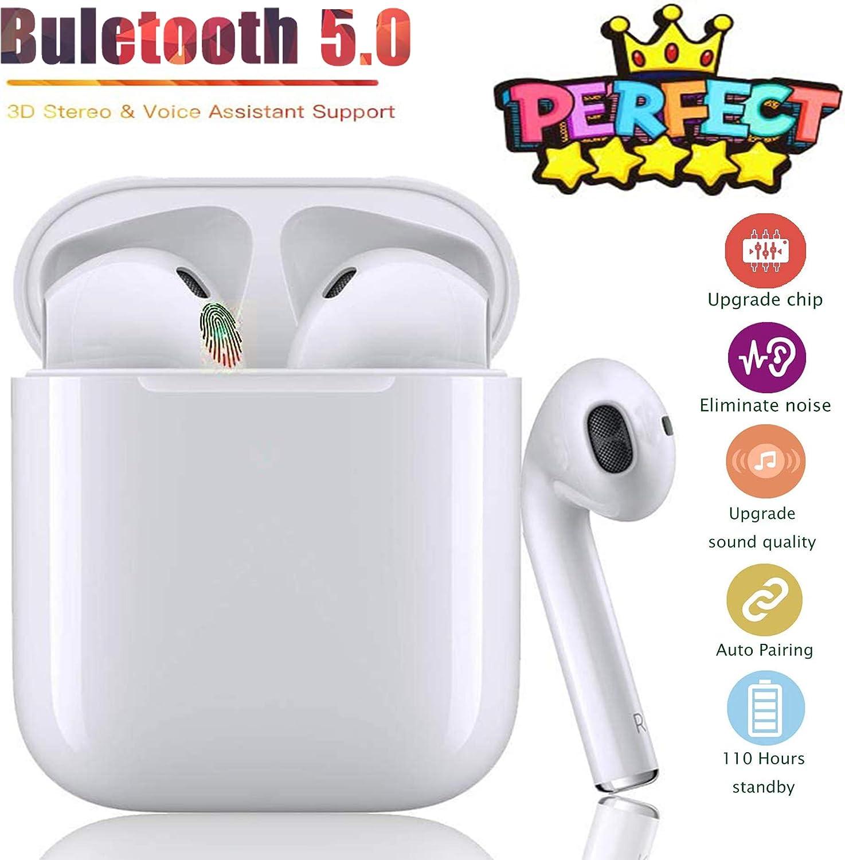 Auriculares inalámbricos, con Auriculares Bluetooth 5.0 estéreo 3D, IPX7 a Prueba de Agua, micrófono HD, función de reducción de Ruido Compatible con/Xiaomi/Apple Airpods Pro/iPhone(i12 Blanco)