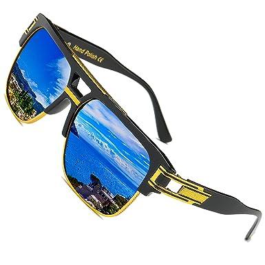 SHEEN KELLY Plaza Gafas de Sol de Moda estilo Marca Retro/Vintage Baratas para Mujer y Hombre Marco de metal Azul marrón transparente plata