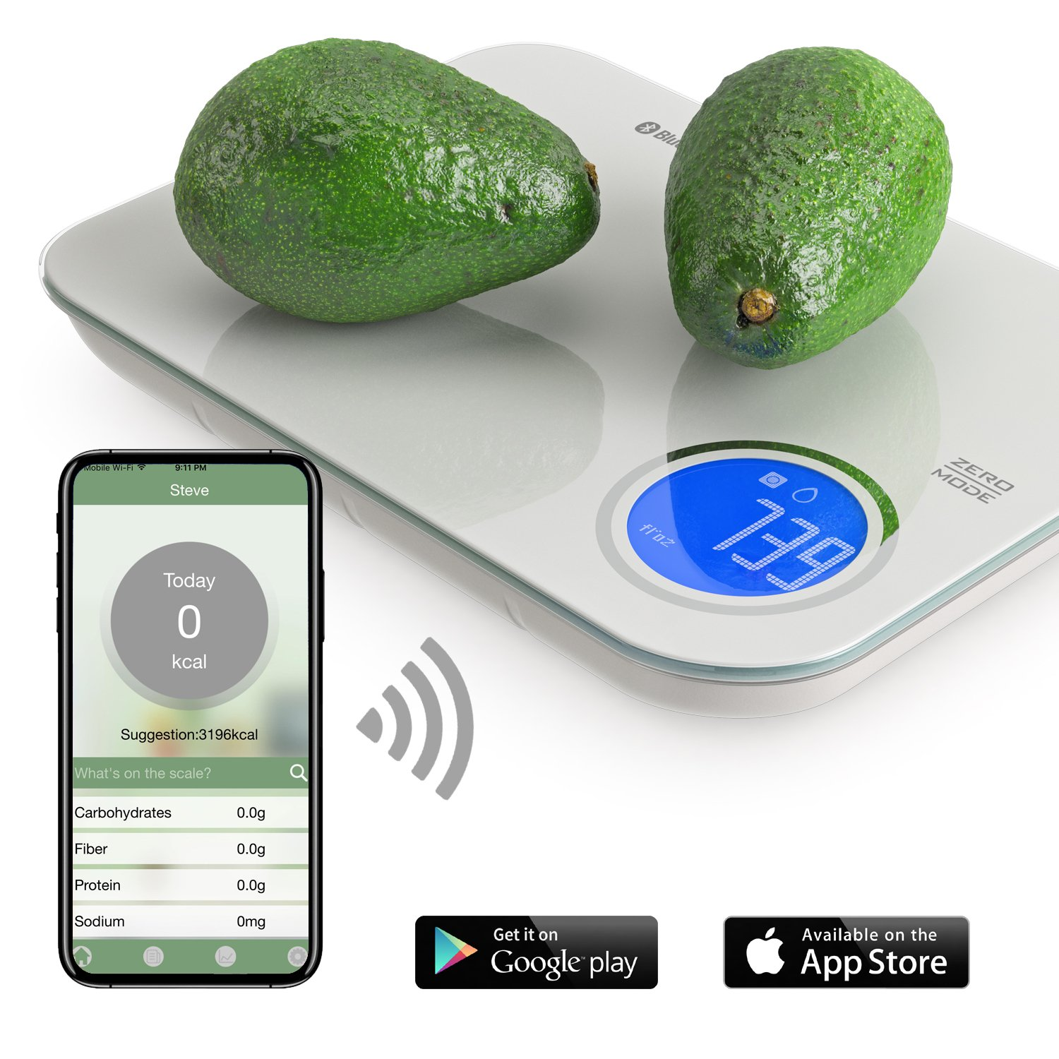 NutriTotal Food Scale and Portions Nutritional Facts with Bluetooth app. Great for Keto and Paleo. NTSG1