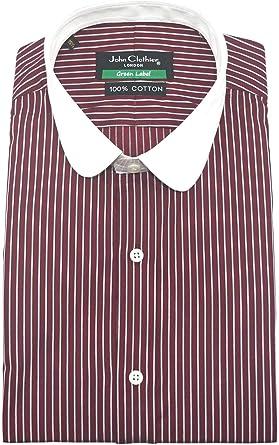 Paliducho Anteojeras Camisa para Hombre Cuello Penny Granate Blanco Rayas Camisa Vintage Redondas Club Algodón Cuello Hombre Manga Larga Prime 800-41