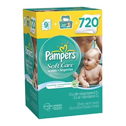 Pampers SoftCare Unscented toallitas 10 x caja con bañera 720 Count