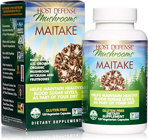 Host Defense, Maitake Capsules, Promotes Normal Blood Sugar Metabolism Already Within The Normal Range, Daily Mushroom Supplement, Vegan, Organic, 120 Capsules 60 Servings