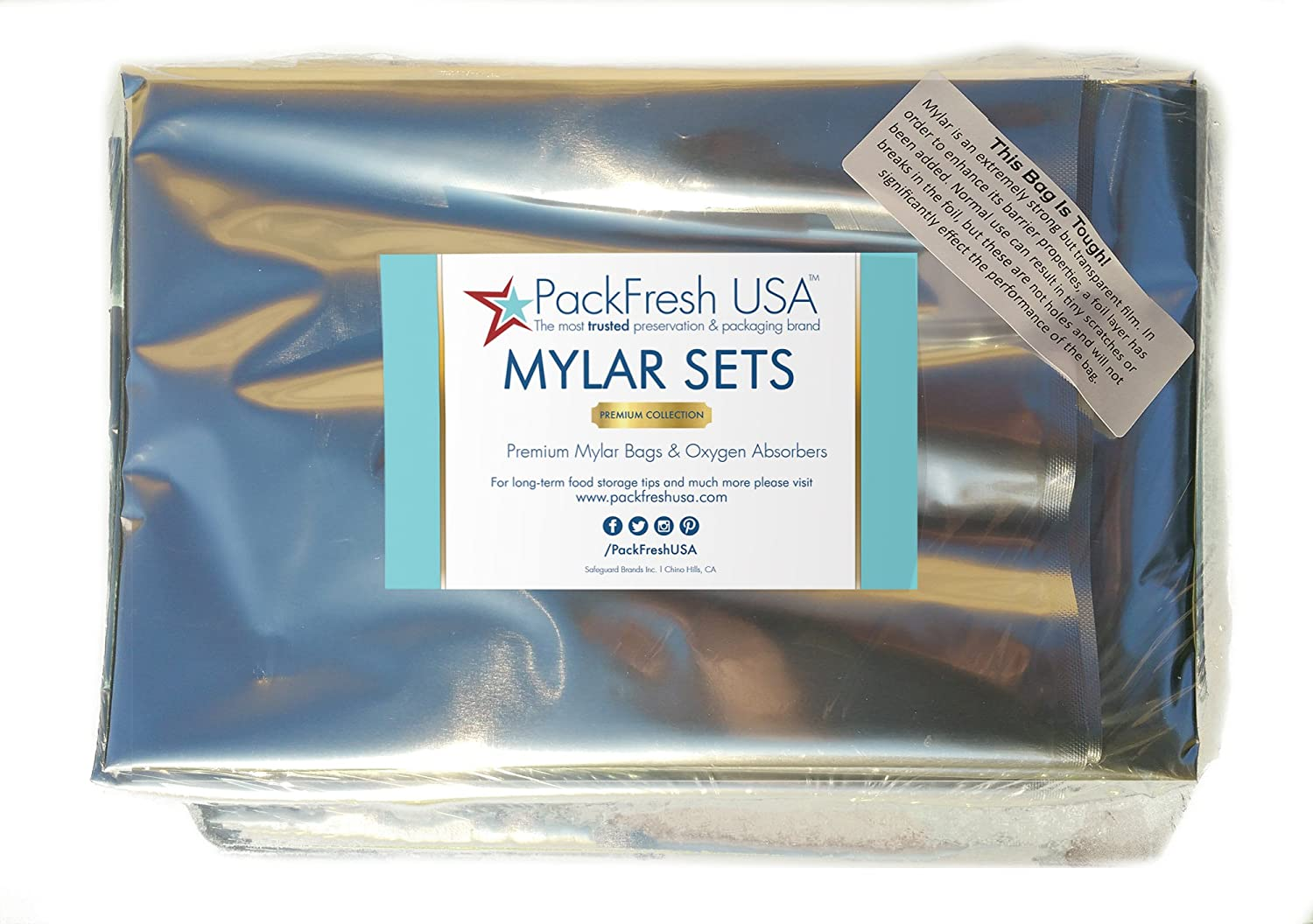 6 5 Gallon HD Ziplock Mylar bags with 2000cc Oxygen Absorbers Individually Sealed with PackFreshUSA LTFS Guide