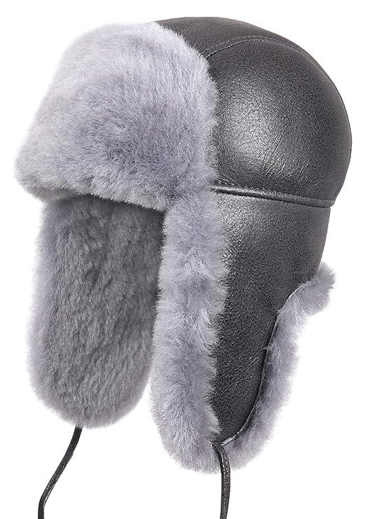 Zavelio Unisex Shearling Sheepskin Leather Aviator Russian Ushanka Trapper Winter Fur Hat by Zavelio