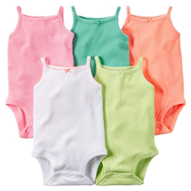 1b80fd986 Amazon.com  Knighthorse Baby Girls 5-Pack Sleeveless Bodysuits ...