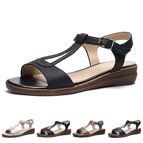 d8f680b6f2c CINAK Women Comfort Flat Sandals-Cute Open Toe One Band Adjustable Ankle  Strap Stylish Summer Shoes