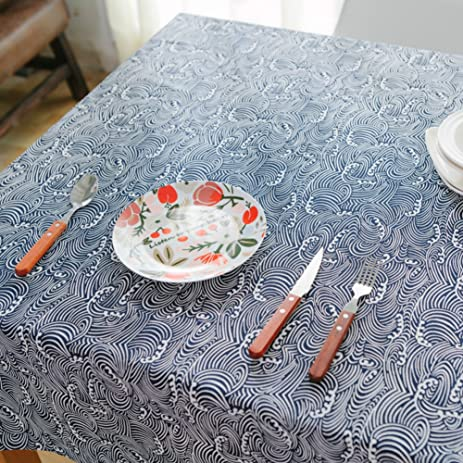 Japanese Navy Blue Vintage Tablecloth Fabric/ Lovely Fresh Cotton/ Japan  The Traditional Plain Art