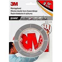 3M Power Montagetape, extra sterk dubbelzijdig plakband voor binnen en buiten, 19 mm x 5 m x 0,8 mm, grijs, per stuk…