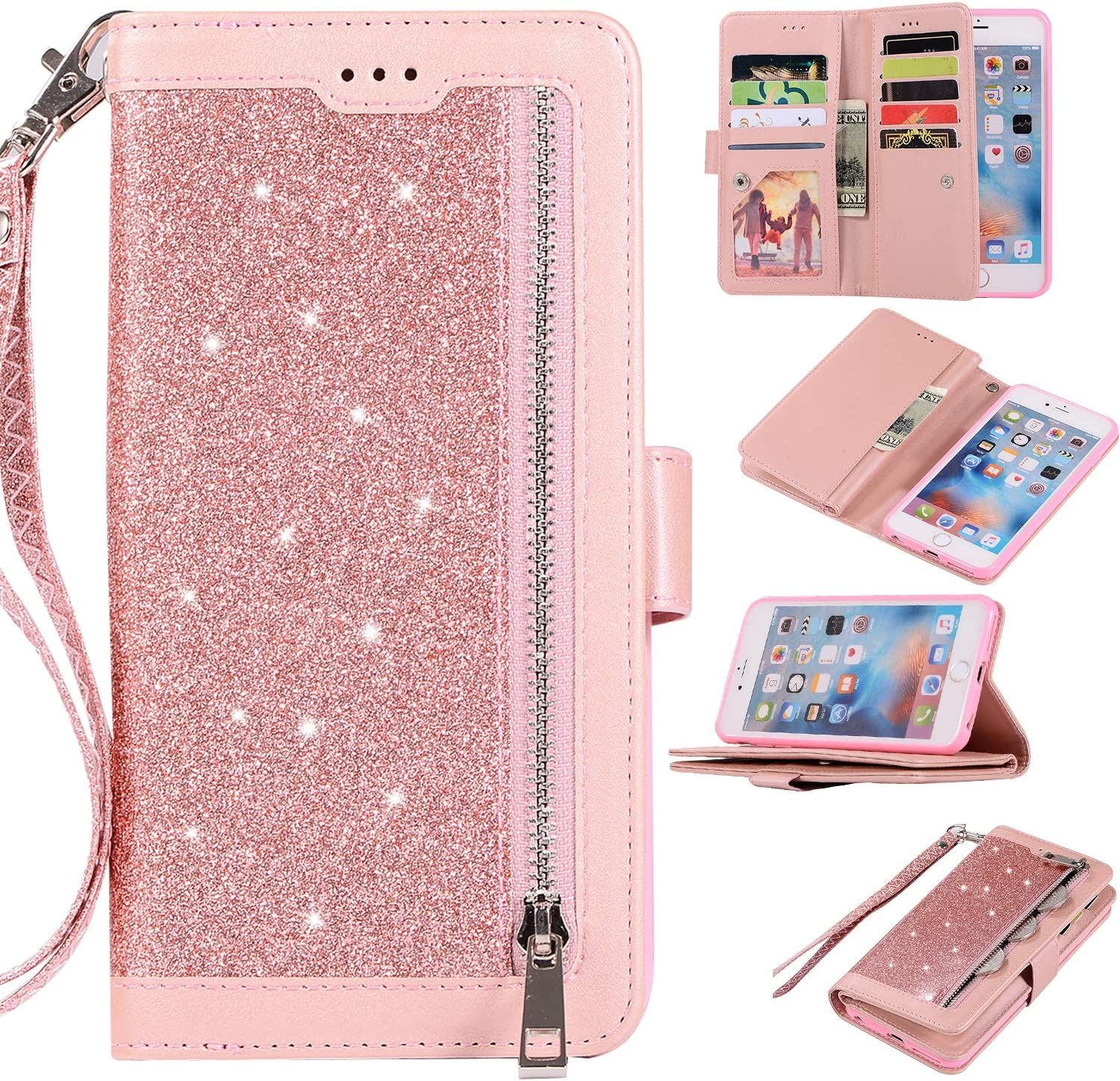 EYZUTAK Wallet Case for iPhone 6 Plus iPhone 6S Plus,Magnetic Handbag Zipper Pocket PU Leather Flip with 9 Card Slots and Wrist Strap Folio TPU Inner Stand Case for iPhone 6 Plus/6S Plus - Rose Gold