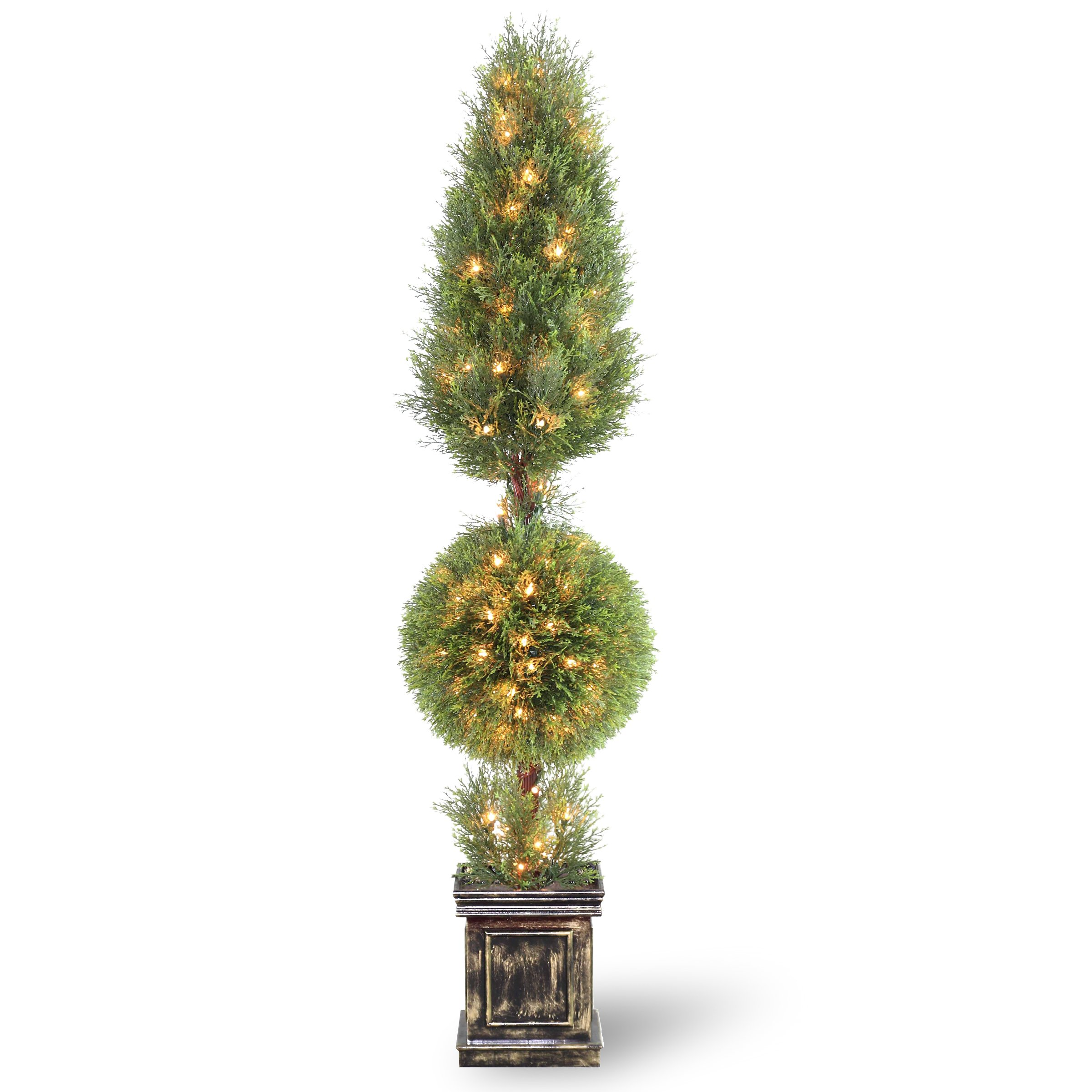 National Tree 60 Inch Juniper Cone and Ball Topiary Tree with 150 Clear Lights in Black Square Pot (LCYT4-302-60)