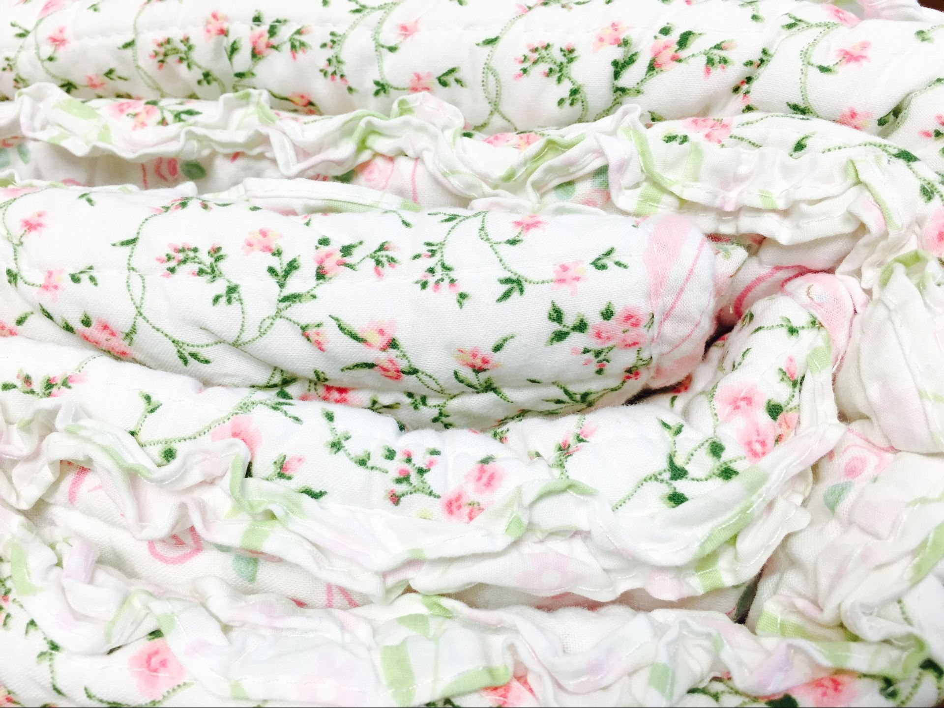 Cozy Line Home Fashions Pink Rose Romantic Chic Lace Bedding Quilt Set, Floral Flower Printed 3D Stripe 100% COTTON Reversible Coverlet Bedspread Gifts for Girls Women (Queen - 3 piece) by Cozy Line Home Fashions (Image #3)