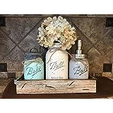 Ball Mason Jar CANISTER 5pc SET with galvanized metal lid Antique WHITE wood Tray ~Utensil holder Soap Dispenser Kitchen Bathroom counter decor (flower optional) JARS Distressed Gray Blue Cream Tan