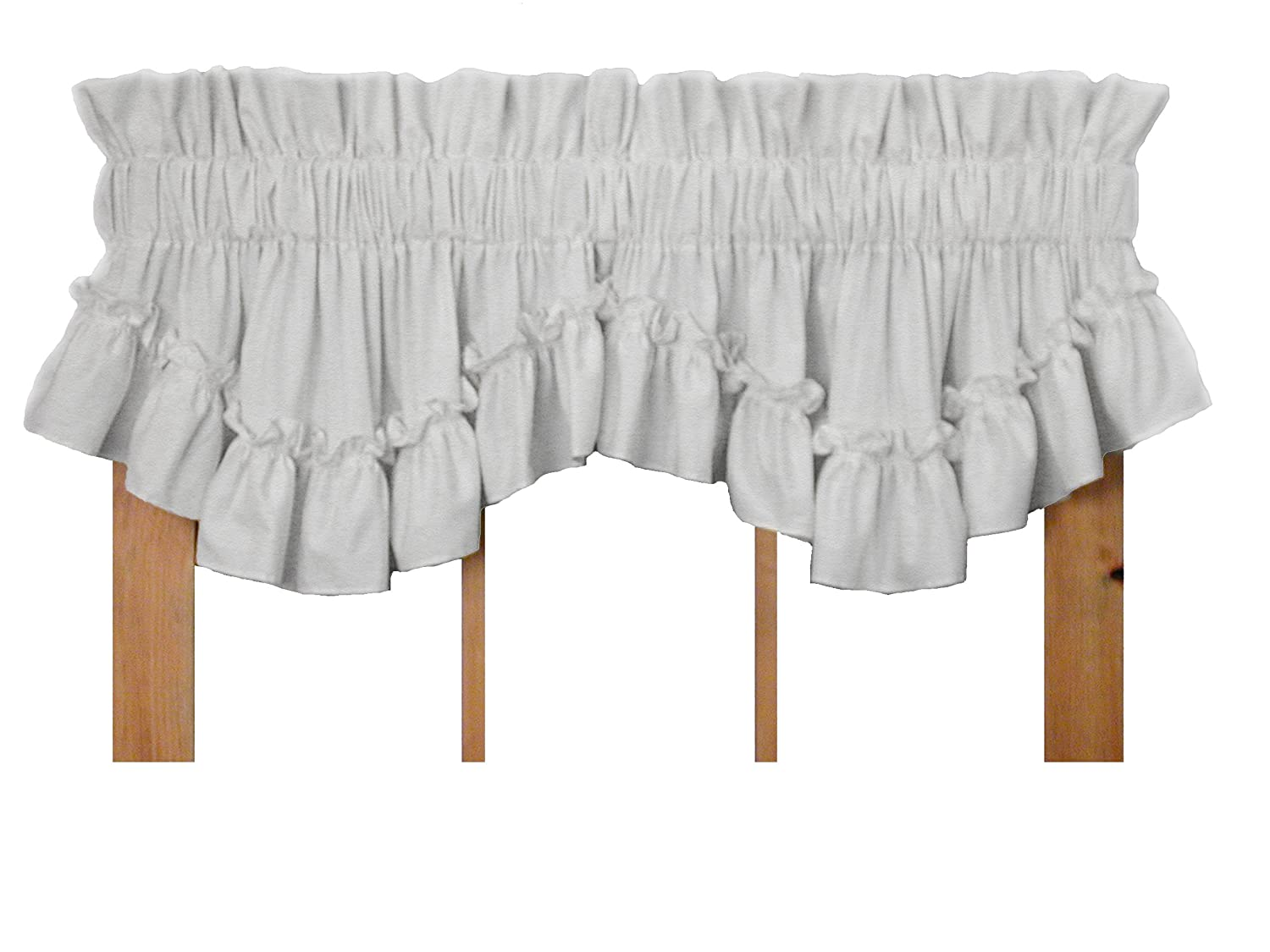 Window Toppers Stephanie Country Style Ruffle Shaped Valance Curtain - 3 Inch Rod Pocket, White