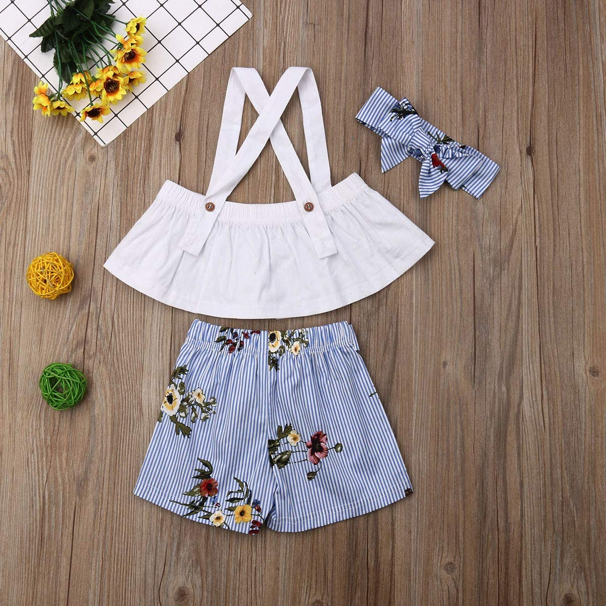 3Pcs Toddler Kids Baby Girl Striped Outfits Halter Ruffle Crop Top Bow Floral Shorts Headband Summer Clothes Set