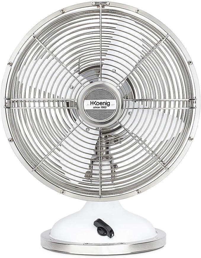 H.Koenig metálico JOE50 Blanco, Ventilador Eléctrico Retro Vintage, Diseño Silencioso, 3 Velocidades, Fijo y Oscilación 90ºC, Metal, Ajuste Vertical, Pie ...