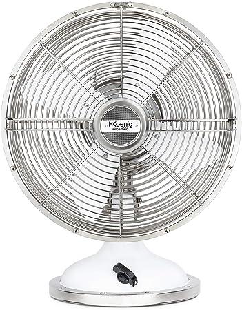 H.Koenig metálico JOE50 Blanco, Ventilador Eléctrico Retro Vintage ...