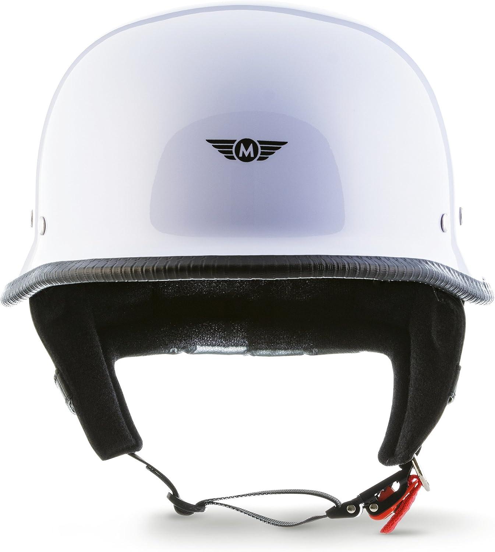"MOTOHelmets/® D33 /""Army Snow/"" /· Brain-Cap /· Motorcycle-Helmet Vintage Jet-Helmet half helmet Pilot Motor Bike Scooter Biker Retro Chopper Cruiser Vintage Bobber Retro /· Click-n-Secure Bag S 55-56cm"
