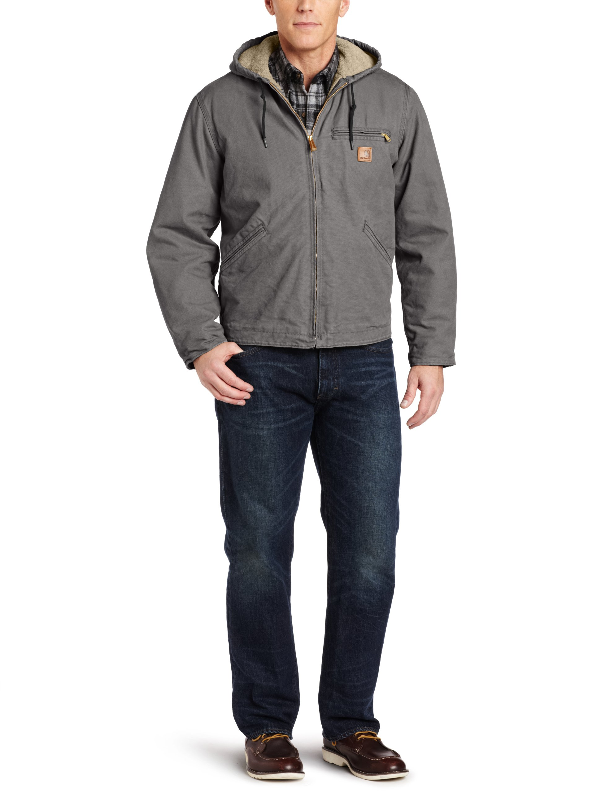 Carhartt Men's Big & Tall Sherpa Lined Sandstone Sierra Jacket J141,Gravel,XXXX-Large Tall