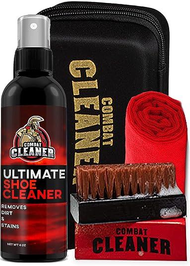 Combat Cleaner Kit de limpieza de zapatos Limpiador de zapatos + cepillo duro premium + cepillo suave premium + estuche de viaje grande | utilizado para zapatillas, zapatos de tenis, cuero, ante: