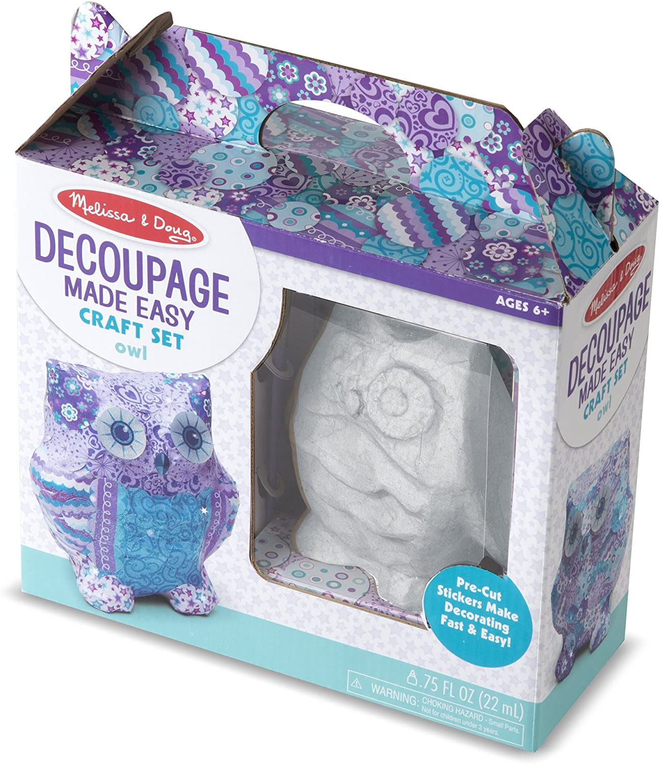 Melissa /& Doug Decoupage Made Easy Owl Paper Mache Craft Kit With Stickers