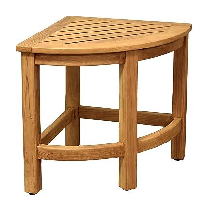 Amazon.com : Asta Furniture Asta Spa Teak Shower/Bath Corner Stool ...
