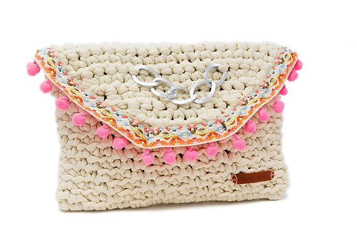 Cartera de mano tipo sobre tejido a Crochet color Crema estilo Boho chic