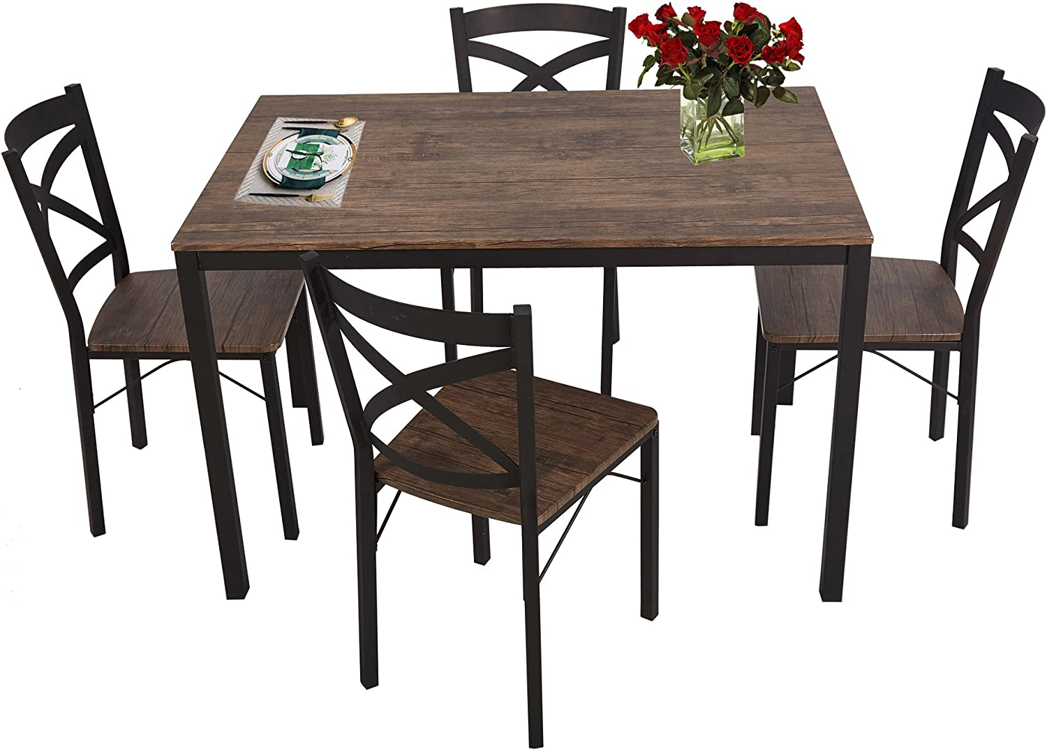 Amazon Com Luckyermore 5 Piece Dining Table Set For 4 Chairs Wood And Metal Kitchen Table Modern And Sleek Dinette Table Chair Sets