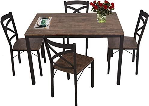 Amazon Com Luckyermore 5 Piece Dining Table Set For 4 Chairs