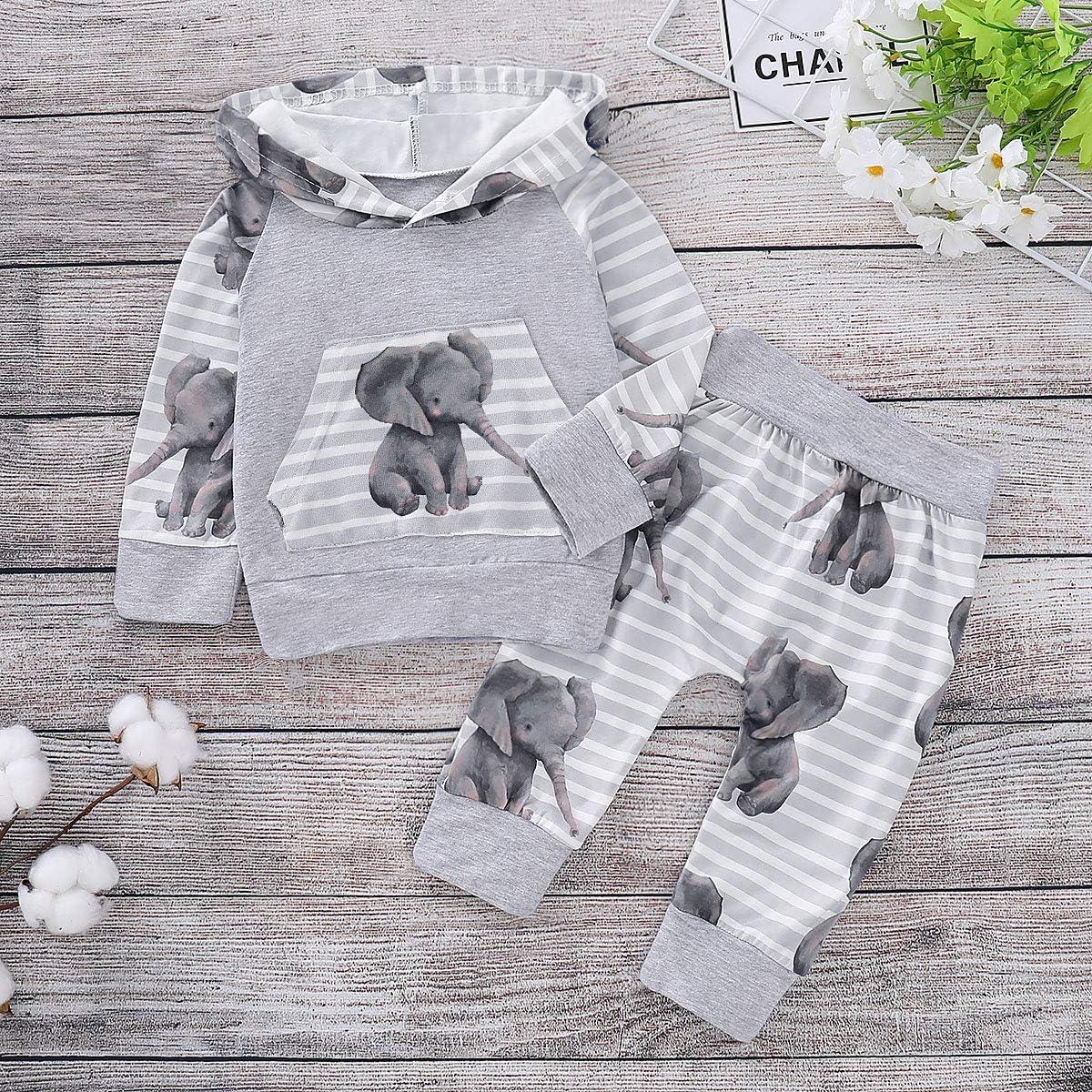 con stampa di ghepardo e foresta greatmtx felpa con cappuccio pantaloncini Set da 2 pezzi per neonati per bambini da 0 a 18 mesi