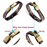 Jstyle Mens Vintage Leather Wrist Band Brown Rope