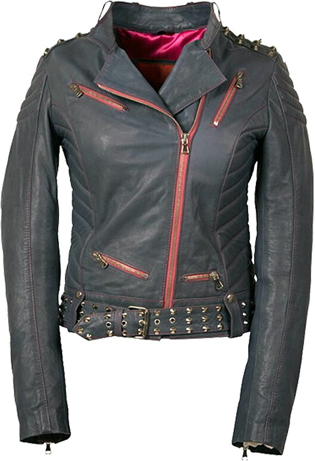 Womens Fashion Super Model Ghost Rider Jacket Original Leather /& Size Small to 4XL