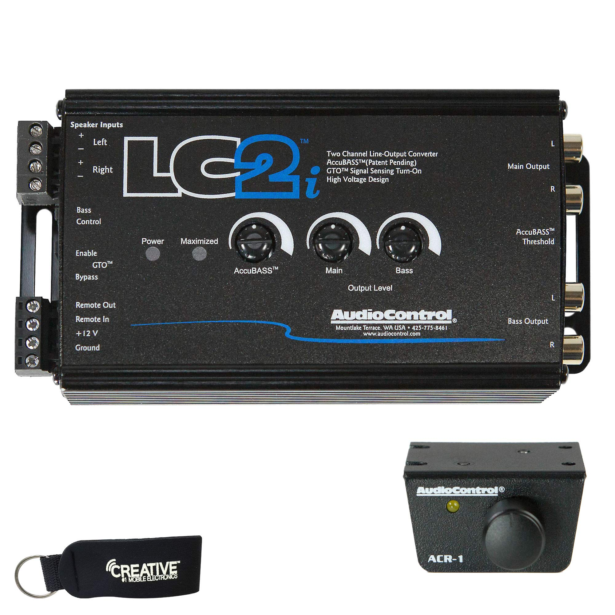 AudioControl LC2i 2 Channel Line Out Converter with Accubass and Subwoofer Control, ACR-1 Dash Remote