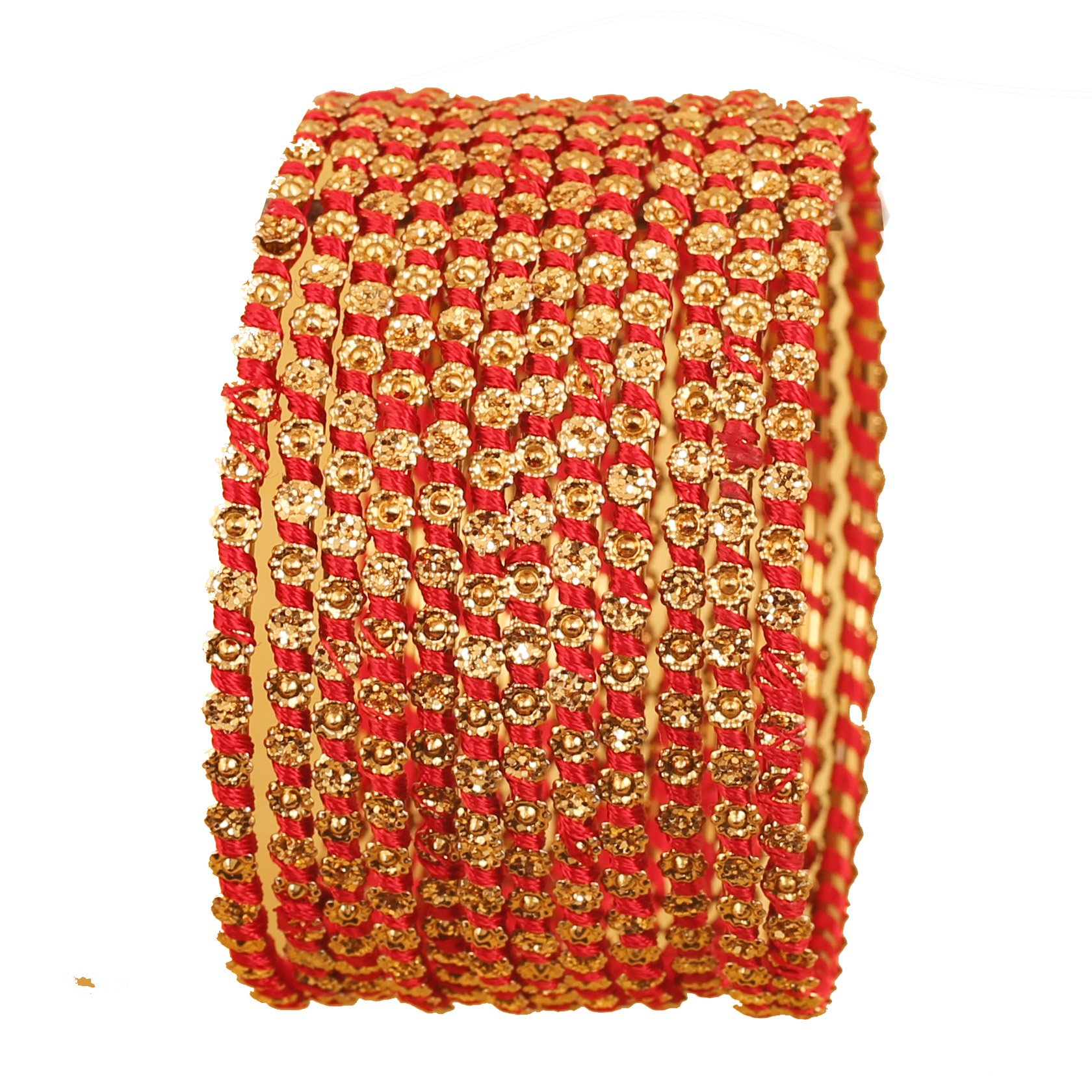 New! Touchstone Silk Thread Bangle Collection. Indian Bollywood Hand Woven Hot Red Silk Thread Fine Grain Work Charming Look Designer Bangle Bracelets. Set of 12 in Antique Gold Tone. for Women.