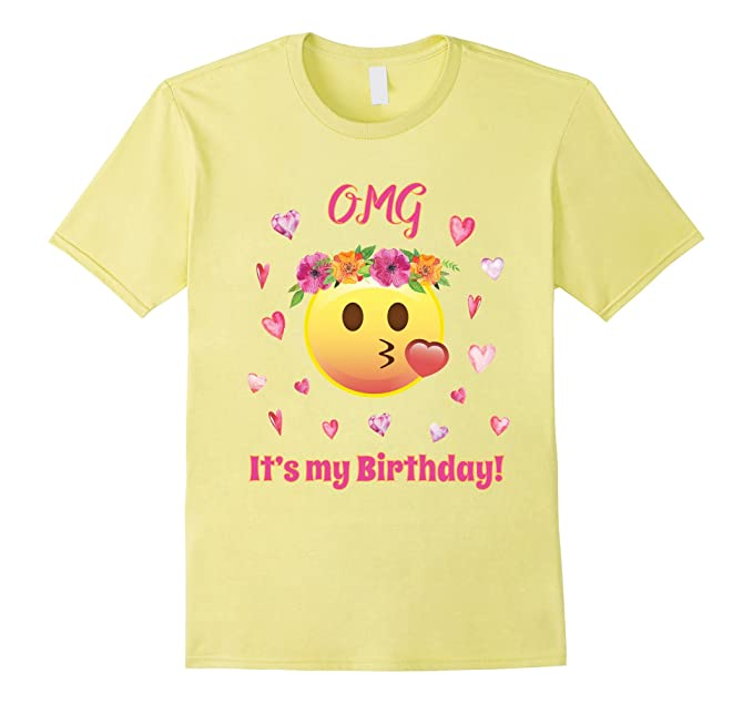 Mens Pink Emoji OMG Its My Birthday Funny T Shirt Ladies Crown