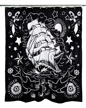 Too Fast NAUTICAL Sailor Ship Shower Curtain DUSCHVORHANG Rockabilly