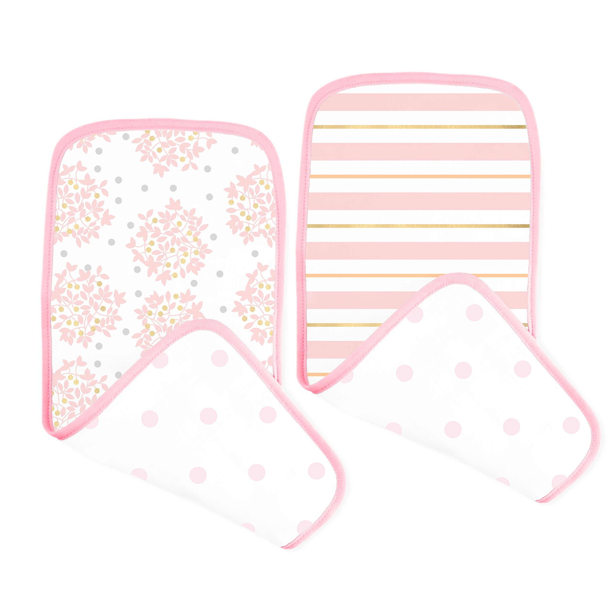 SwaddleDesigns Cotton Muslin Baby Burpies, Set of 2 Cotton Burp Cloths, Pink Heavenly Floral Shimmer